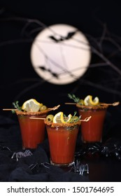Michelada - Mexican alcoholic cocktail, tomato juice, spicy sauce and spices. Great idea for a Halloween party.
