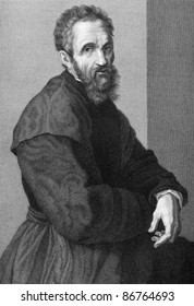 Michelangelo (1475-1564). Engraved by G.P.Lorenzi and published in Uffizi Gallery of Florence engraving collection, Italy, 1841.
