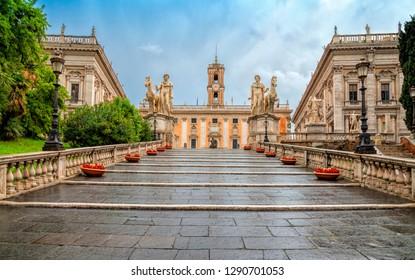 Michelangelo stairs to Capitoline square (Piazza del Campidoglio) on top of Capitoline Hill , Rome, Italy. Rome architecture and landmark. Rome cityscape.