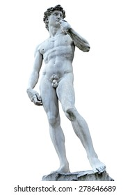 Michelangelo's David isolated on white with clipping path. Piazza della Signoria, Firenze, Italy (clipping path)