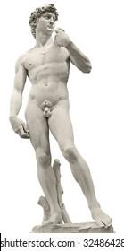 Michelangelo's David isolated on white by clipping path. Piazza della Signoria, Firenze, Italy.