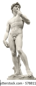 Michelangelo's David isolated on white by clipping path. Piazza della Signoria, Florence, Italy.