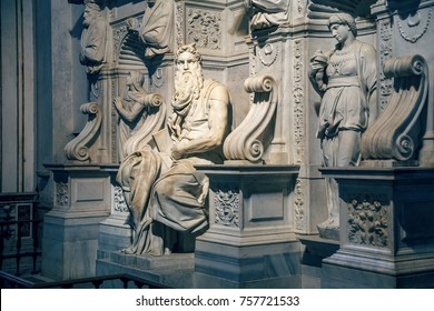 Michelangelo's Moses in the basilica San Pietro In Vincoli, Rome, Italy. Vintage style.