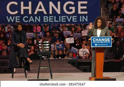 Michelle Obama, Oprah Winfrey attending Barack Obama Campaign Rally for Democratic Presidential Primary with Oprah Winfrey, The Verizon Wireless Arena, Manchester, NH, December 09, 2007