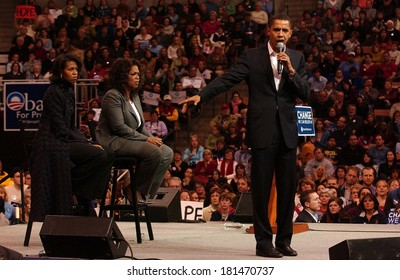 Michelle Obama, Oprah Winfrey, Barack Obama attending Barack Obama Campaign Rally for Democratic Presidential Primary with Oprah Winfrey, The Verizon Wireless Arena, Manchester, December 09, 2007