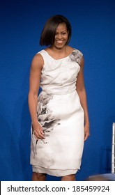 Michelle Obama, in Prabal Gurung dress presents her inaugural gown to SmithsonianxCDs First Ladies Collection, The Smithsonian National Museum of American History, Washington, DC March 9, 2010