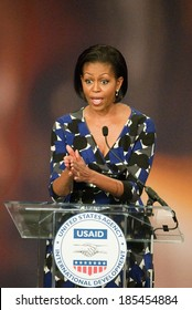 Michelle Obama at the press conference for First Lady Michelle Obama Speaks at the United States Agency for International Development, USAID, Ronald Reagan Building, Washington, DC May 6, 2010