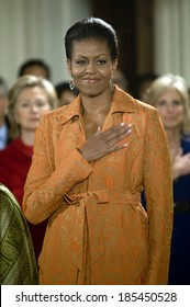 Michelle Obama at a public appearance for Arrival of Prime Minister of India for White House State Visit, The White House, Washington, DC November 24, 2009