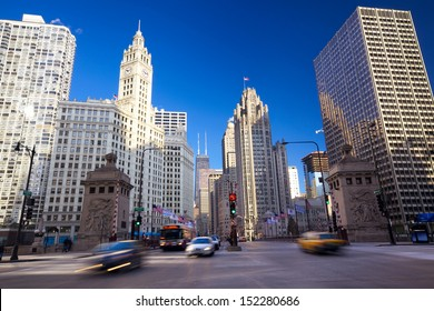 Michigan Avenue Bridge and Magnificent Mile in Chicago, IL, USA