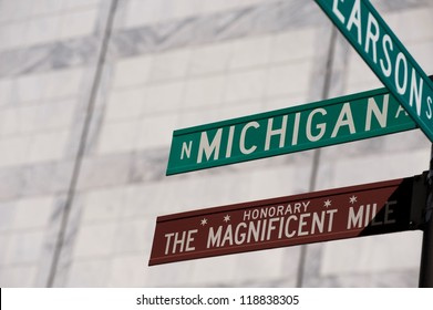 Michigan Avenue street sign in Chicago