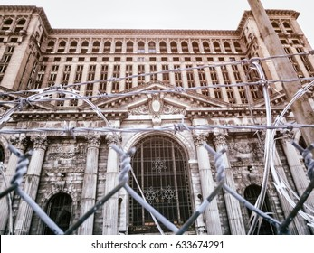 Michigan Central Station Razor Wire. The abandoned Michigan Central Station in Detroit, Michigan on a winter afternoon with razor wire.