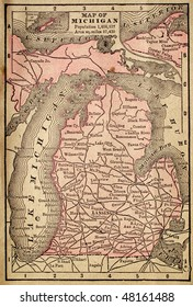 Michigan, circa 1880. See the entire map collection: http://www.shutterstock.com/sets/22217-maps.html?rid=70583