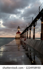 Michigan city lighthouse, Indiana, just after sunrise.