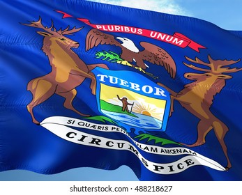Michigan flag on the mast