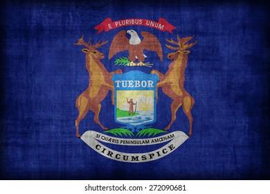 Michigan flag pattern, retro vintage style