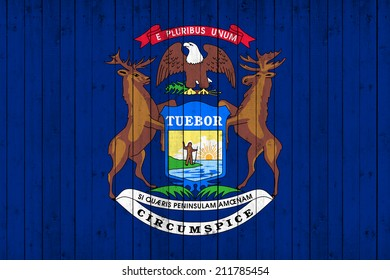 Michigan flag with wood background