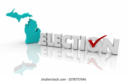 Michigan MI Election Voting State Map Word 3d Illustration