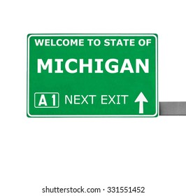 MICHIGAN road sign isolated on white