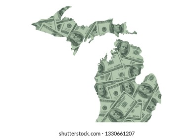 Michigan State Map and Money, Hundred Dollar Bills