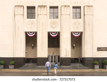 Michigan, United States - July 11, 2017: Constructed during the early 1930s, the Theodore Levin US Courthouse in Detroit features 24 courtrooms in addition to a business center with postal facilities.
