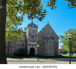 Michigan University, Ann Arbor, USA. Beautiful stone building against the blue sky in summer.