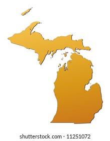 Michigan (USA) map filled with orange gradient. Mercator projection. Original rendered image using public domain data(coordinates).