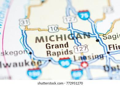 Michigan. USA on a map.