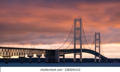 Michigan's Mackinac Bridge at Sunrise