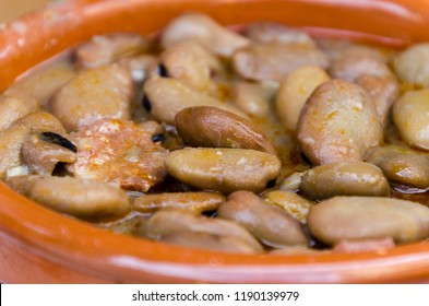 Michirones. Broad beans boiled with chorizo, cured ham and bacon. typical spanish tapa in murcia, Alicante and Almeria