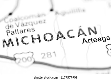 Michoacan. Mexico on a map