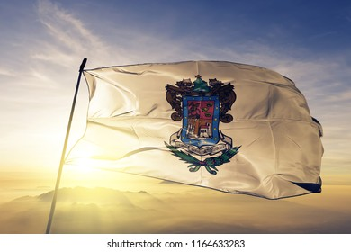 Michoacan state of Mexico flag textile cloth fabric waving on the top