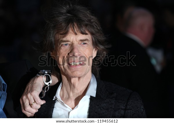 Mick Jagger arriving the Premiere of 'Crossfire Hurricane' during the 56th BFI London Film Festival at Odeon Leicester Square, London. 18/10/2012 Picture by: Alexandra Glen