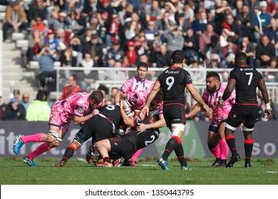 Mickael Ivaldi of Lyon and Francois Van Der Merwe of Lyon during the French championship Top 14 rugby union match between Lyon OU and Stade Francais Paris on November 4, 2018 at Gerland stadium Lyon