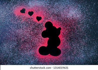 Mickey mouse icon chalkboard heart symbol Moscow studio 15 February 2019