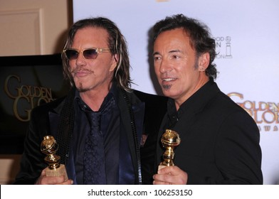 Mickey Rourke and Bruce Springsteen in the press room at the 66th Annual Golden Globe Awards. Beverly Hilton Hotel, Beverly Hills, CA. 01-11-09