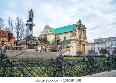 Mickiewicz Monument and Church of the Assumption of the Virgin Mary and of St. Joseph known as the Carmelite Church. Travel.