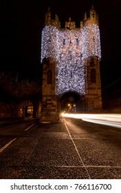 Micklegate Bar York England lit up with Christmas lights