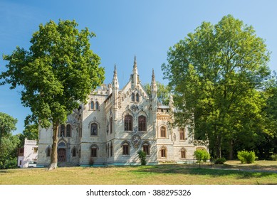 Miclauseni, Romania - August 04,2015: Miclauseni Castle, one of the most beautifull neo-gothic castles, belonged to Sturdza family,famous in its time for art collections and a remarkable large library