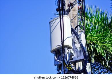 Micro cellular 3G, 4G, 5G. Base Station or Base Transceiver Station. Wireless Communication Antenna Transmitter. Development of communication system in urban area.