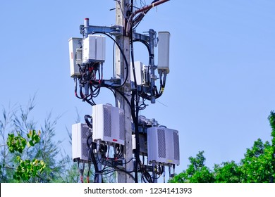 Micro cellular 3G, 4G, 5G. Base Station or Base Transceiver Station. Wireless Communication Antenna Transmitter. Development of communication system in urban area.