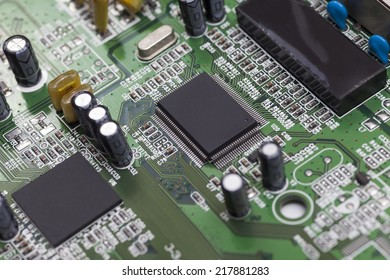 Micro controller on green printed circuit board with electronic component