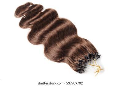 Micro loop ring body wave brown  human hair extensions