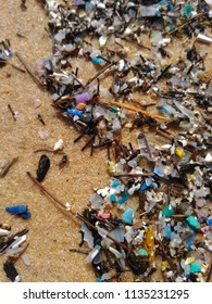 Micro plastics on sand beach