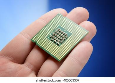micro processor chip in hand