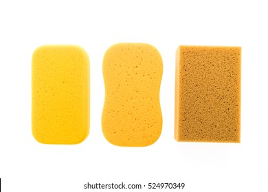 Micro sponge for cleaning and washing car isolated on white background