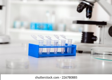 Micro tubes with biological samples in laboratory for DNA analysis