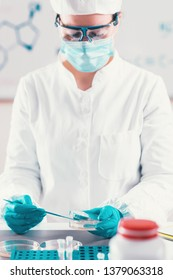 Microbiologist working in laboratory