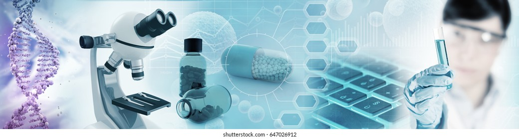 microbiology and pharmaceutical research background, 3d illustration