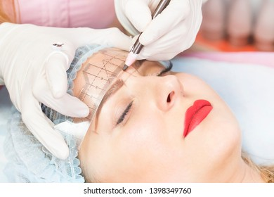 Microblading eyebrows workflow female eyebrowsin a beauty salon