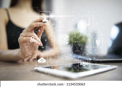 Microchip, CPU, Processor, Microcircuit Computing Engineering. Modernization and Business automation. Internet, industrial and technology Concept. Smart Industry 4.0.